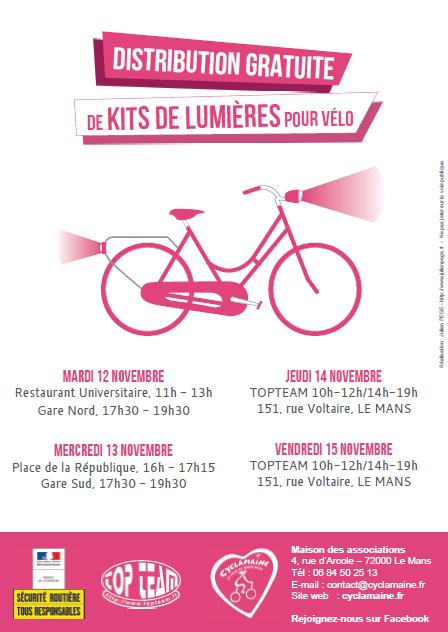 Distribution gratuite de kits de lumières vélo