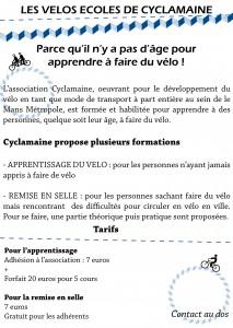 Flyer vélo école